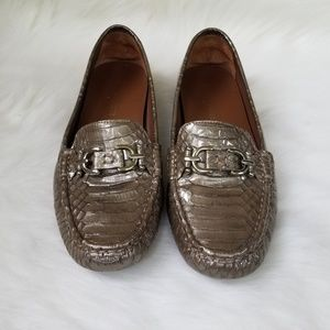 Donald J Pliner Viky metallic crocodile loafers